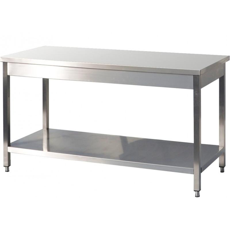 GEMM - Table inox avec étagère 1,50m x 70cm