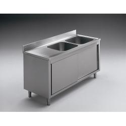 GEMM - Plonge sur pied avec portes 2 vasques 160x70x85h