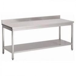 GEMM - Table inox avec étagère + dosseret 1,50m x 70cm