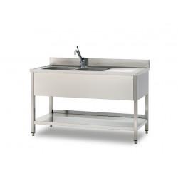 GEMM - Plonge sur pied ouverte 1 vasque à droite + 1 étagère - 100x60x85h