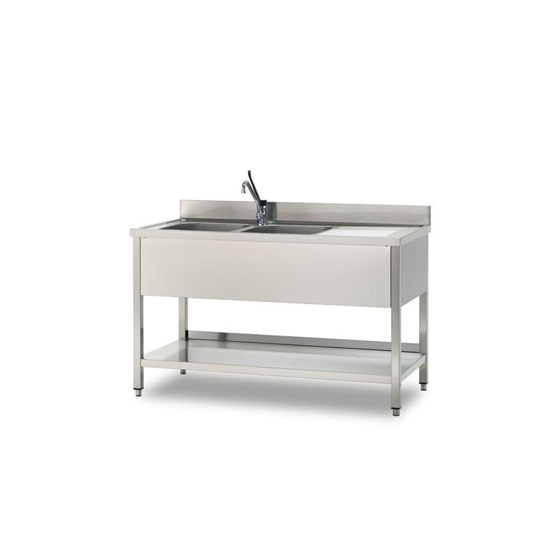 GEMM - Plonge sur pied ouverte avec etagere 1 vasque 50x50x30h - 100x60x85h